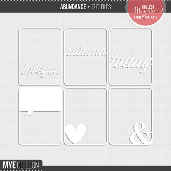Abundance Cut Files by Mye De Leon. A set of 3×4 cut files that is perfect for digital and hybrid project life.