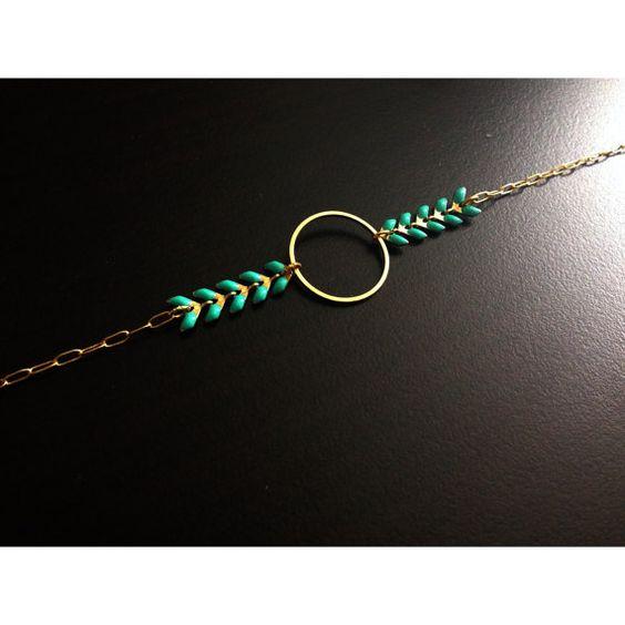 """Bracelet minimaliste """"Olympe"""" - Cercle / Rond - Chaîne épis Mint - Bijoux G.emma - Bijoux minimalistes et fantaisies - pierres semi-précieuses"""