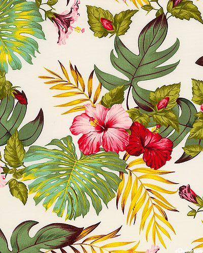 Hawaiian printed fabric ~ In aim of creating the perfect Hawaiian themed bed room for Avalon.