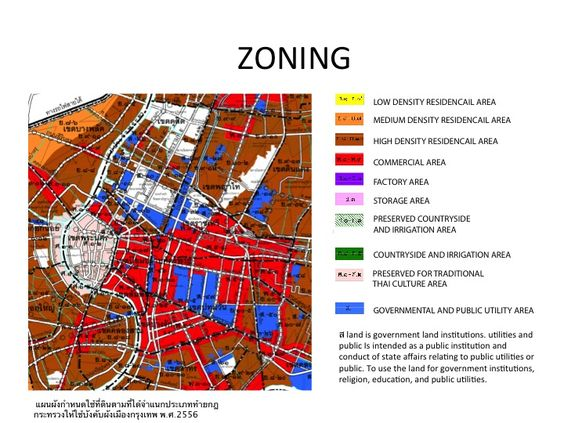 Hualampong site analysis diagram shows zoning in bangkok for Architecture zoning diagram