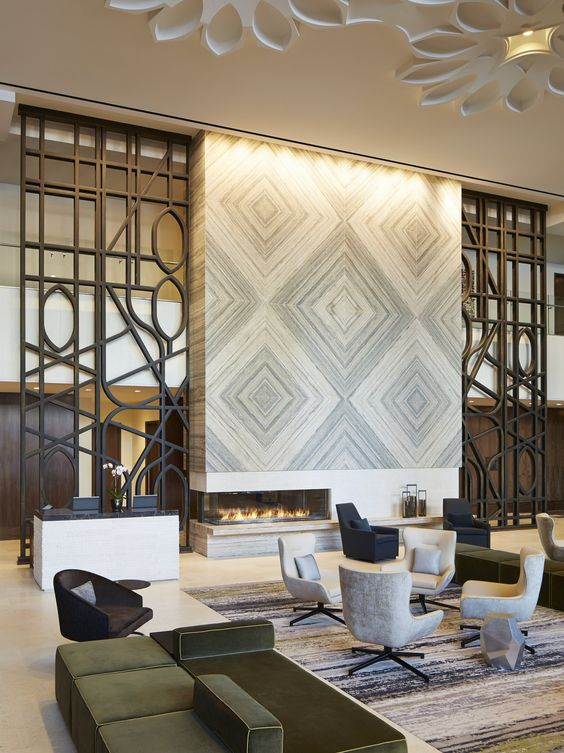 Simeone deary design group projects loews hotels il for Hotel lobby design trends