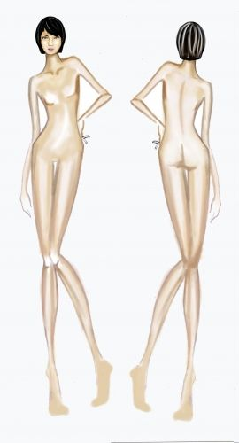 figurin desnudo FRENTE Y ESPALDA