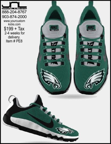 Custom Limited Edition Philadelphia Eagles Nike FREE 5.0 Shoes ...