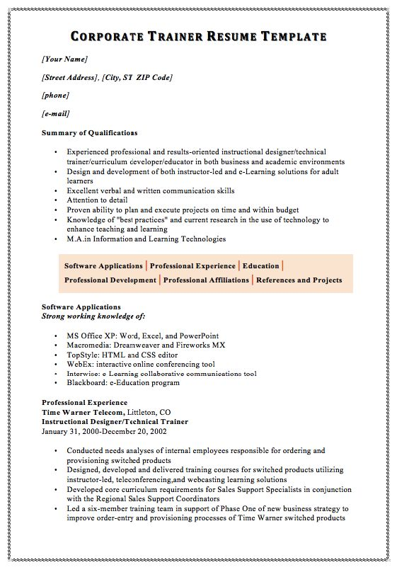 Corporate Trainer Resume Template MACROBUTTON DoFieldClick Your - technical trainer resume