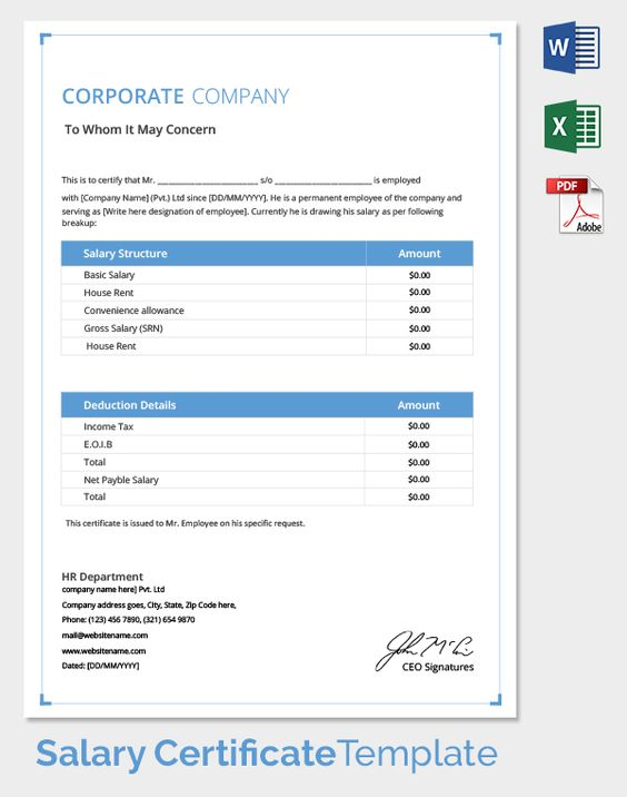 Salary_Certificate Temp hanin Pinterest Templates - payslip template in excel