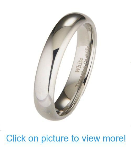 5mm White Tungsten Carbide Polished Classic Wedding Ring Band