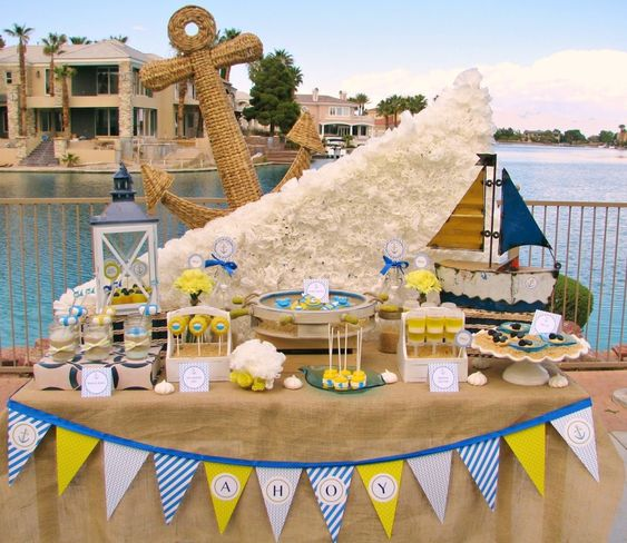 baby shower sailboat theme ideas | Nautical Baby Shower, Beach Theme Shower: