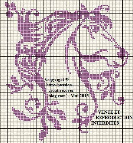 Grille gratuite point de croix : Cheval monochrome violet - Le blog de Isabelle | Point de croix ...