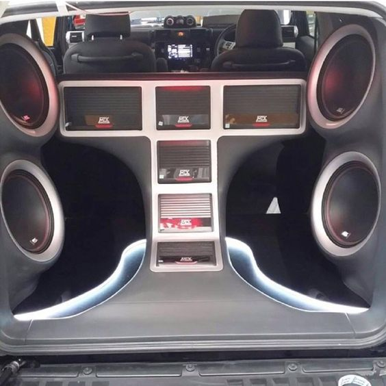 Thunder series amplifiers and 55 series subwoofers in a