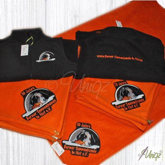 Logostickerei für den Verein Berner Sennhunde in Not, Hundedecken und…