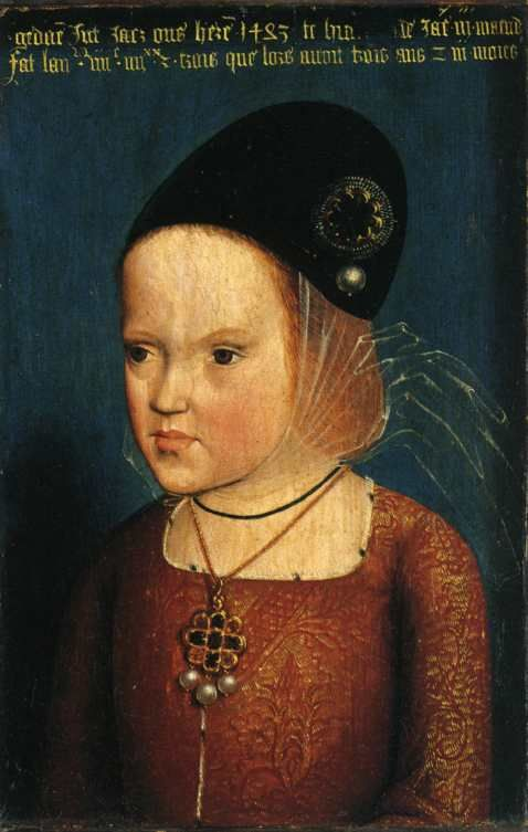 Attribued to Netherlandish Master of the Legend of Mary Magdalene (fl. 1480-1537) ? —  Portrait of Margarethe of Austria Young, 1483    : Musée national du Château de Versailles, Yvelines,  Île-de-France.  France (478×753)