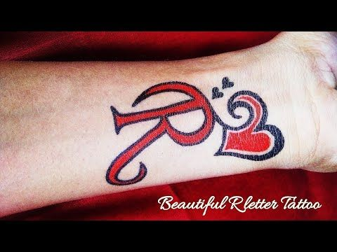 Beautiful R Letter Tattoo With Love Heart Youtube With Images