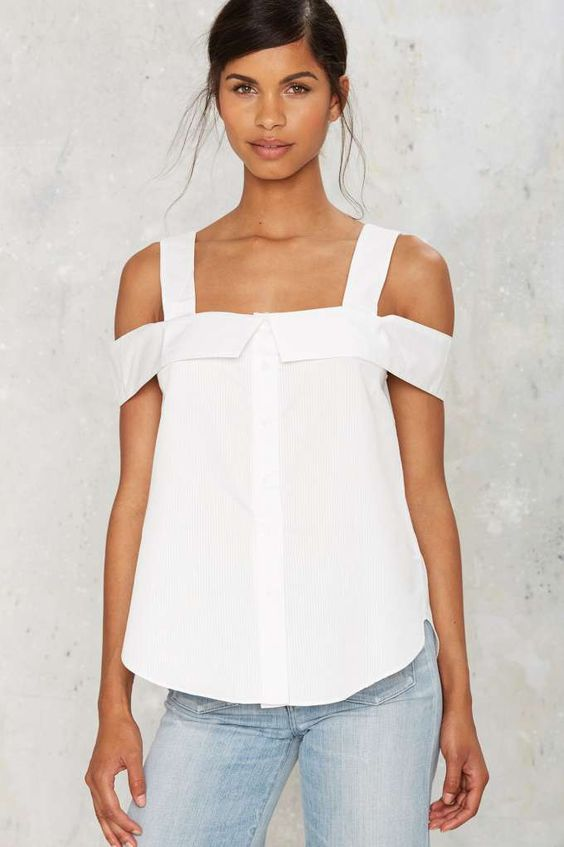 Sunday Morning Cold Shoulder Top - Clothes | Best Sellers | Back In Stock | Blouses | Summer Whites