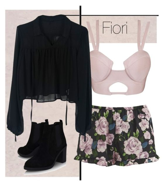 """Fiori - reggiseno rosa"" by abrianamyers on Polyvore featuring Topshop, MINKPINK, shorts, summerstyle, collection and fiori"