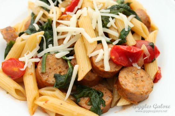 Sausage Spinach Penne Pasta Close Up