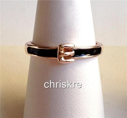 Belt Buckle Ring Enamel Crystal Thin Stackable Silver Rose Gold