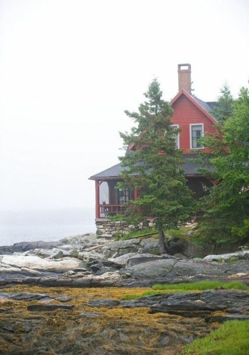 : Beautiful Homes, Dream Homes, The Ocean, Ocean Front, Maine Coast, Dream Houses, Red Houses