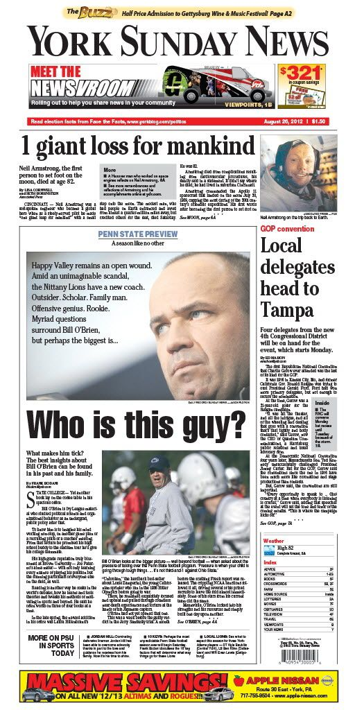 York Sunday News front page for Aug. 26