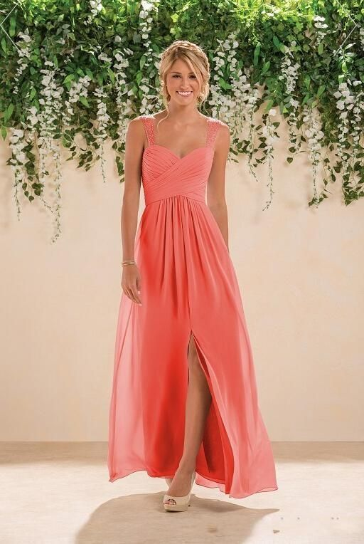 2016 Coral Beach Bridesmaids Dresses Chiffon Long A Line Beaded Spaghetti Straps Crystals Split Prom Gowns
