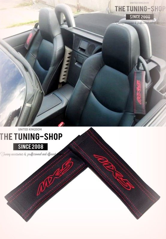 "2x Seat Belt Covers Pads Black Leather /""Mazda/"" Light Blue Embroidery for Mazda"