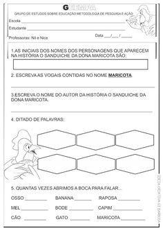 Atividades Alfabetizacao O Sanduiche Da Dona Maricota Com Imagens