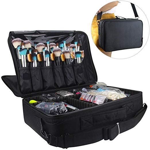 Amazon Com Relavel Professional Makeup Train Case Cosmetic Bag Brush Organizer And Storage 16 5 Travel Mak Makeup Train Case Cosmetic Train Case Makeup Case