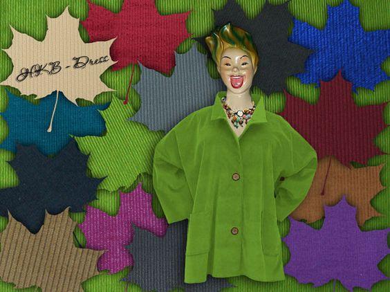 Traumhafte Lagenlook Jacke, Cord grün, Grössen von 48 - 64