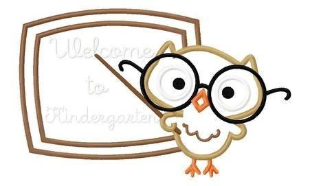 Teacher Owl with Chalkboard - Hang to Dry Applique