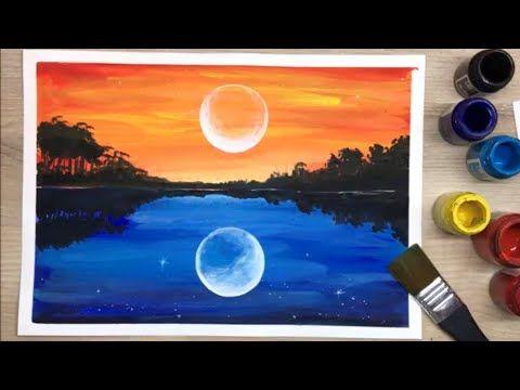 Ep 35 สอนวาดภาพ ตอนเย น และ กลางค น Evening And Night Scenery Painting Tutorial Youtube ศ ลปะบนผ นผ าใบ Diy ภาพวาดบนผ นผ าใบ ศ ลปะอคร ล ค