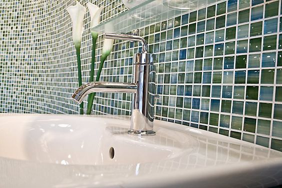 Caribbean glass applied in a bathroom with a gloss finish.