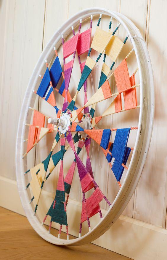 Bicycle wheel + macrame = Art by Sheeso #handmade #macrame #object #art