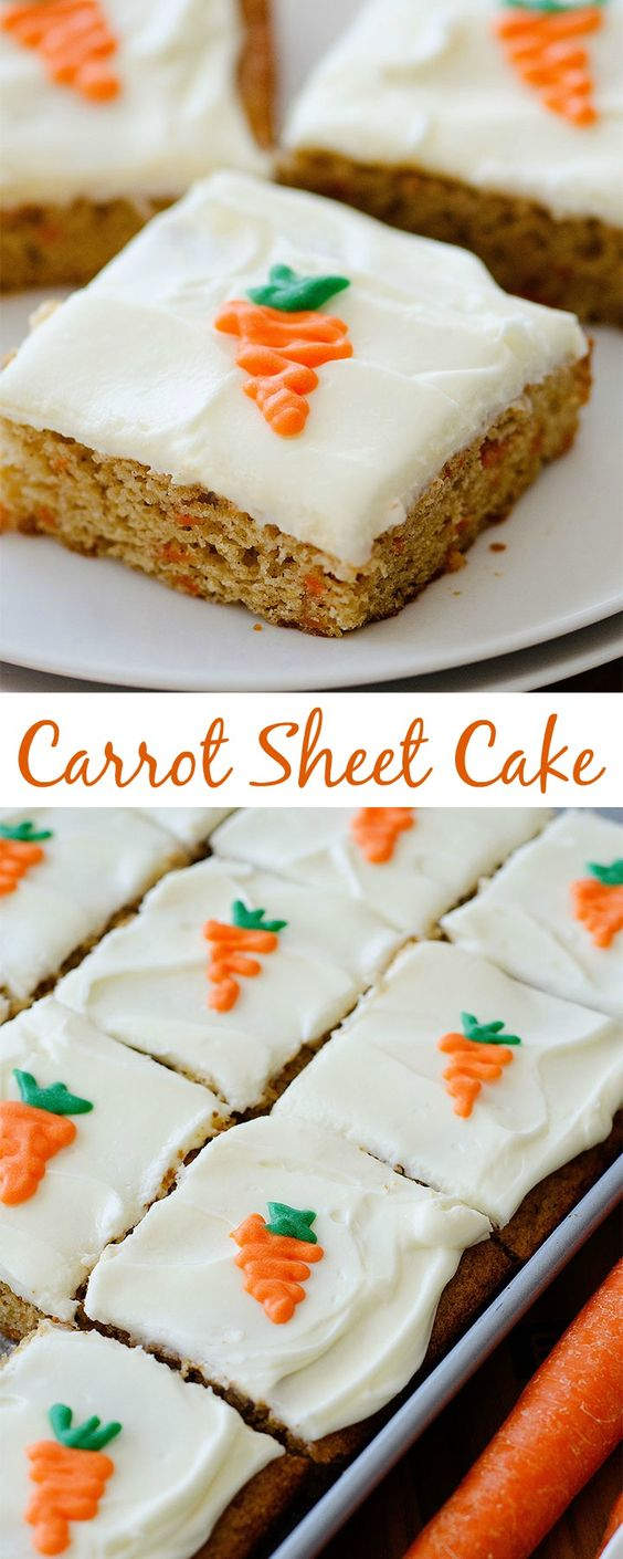 Carrot Sheet Cake with Cream Cheese Frosting Dessert Recipe via Life in the Lofthouse - Perfect for Easter Brunch! An incredibly delicious carrot cake that can serve a crowd! The Best EASY Sheet Cakes Recipes - Simple and Quick Party Crowds Desserts for Holidays, Special Occasions and Family Celebrations #sheetcakerecipes #sheetcake #sheetcakes #cakerecipes #cakes #dessertforacrowd #partydesserts #christmasdesserts #thanksgivingdesserts #newyearseve #birthdaydesserts