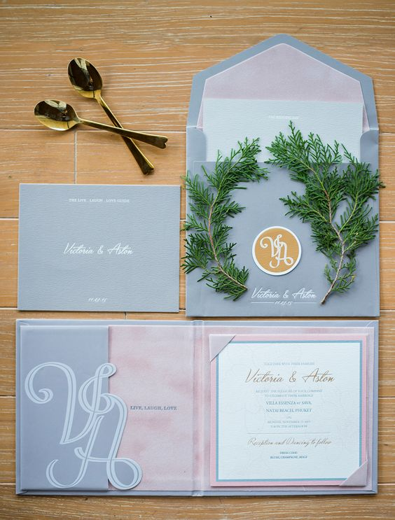 Grey and pink wedding invitation // Plush Phuket Wedding Which Ended in an Explosion of Fireworks: Aston and Victoria