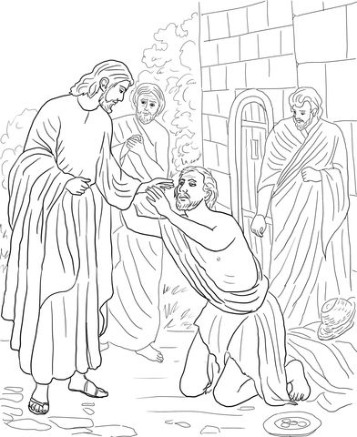 jesus heals blind bartimaeus coloring page biblie copii