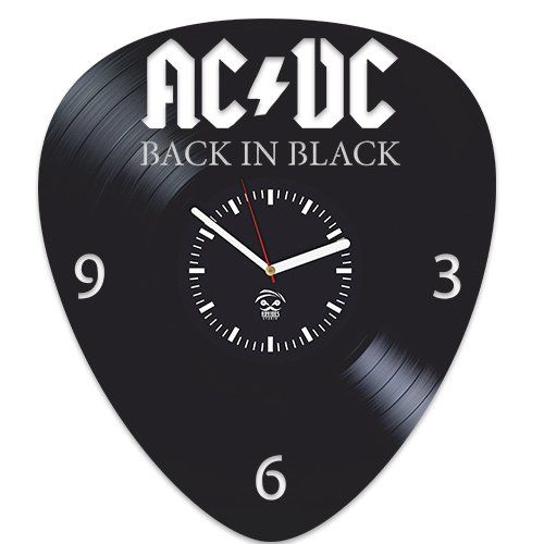 Ac Dc Back In Black Guitar Pick Shaped Vinyl Record Wall Clock