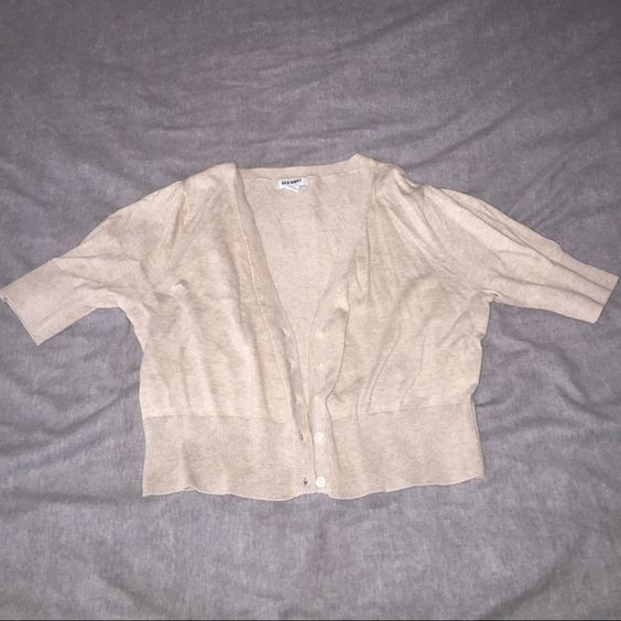 Crop cardigan Adorable tan cropped cardigan. Hits right at your natural waist! Never worn! Reasonable offers accepted, please use button!  Old Navy Sweaters Cardigans