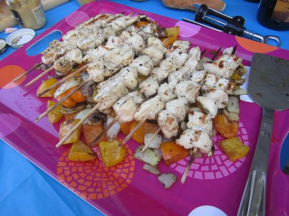 Delicious Father's Day chicken and veggie shish kabobs