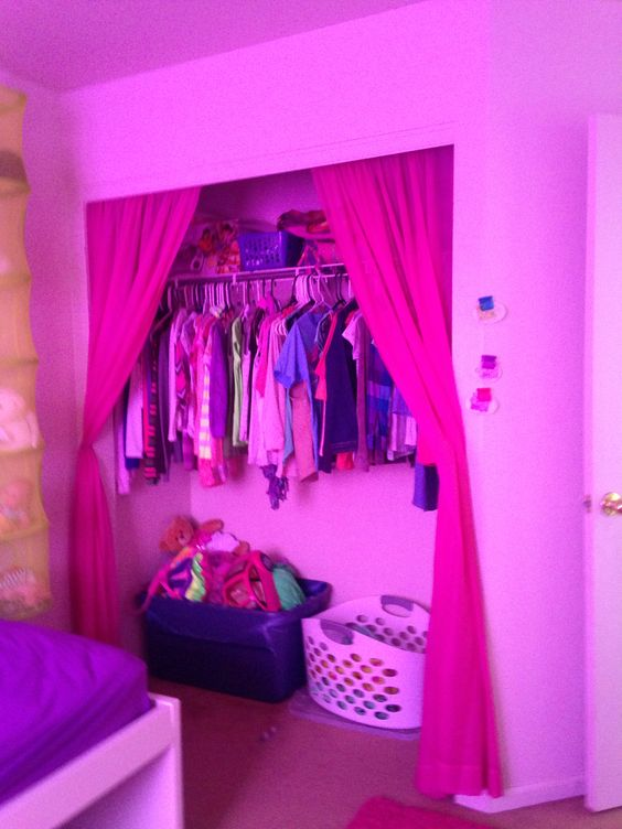 Turn a regular slide door closet into a fashion curtain closet!