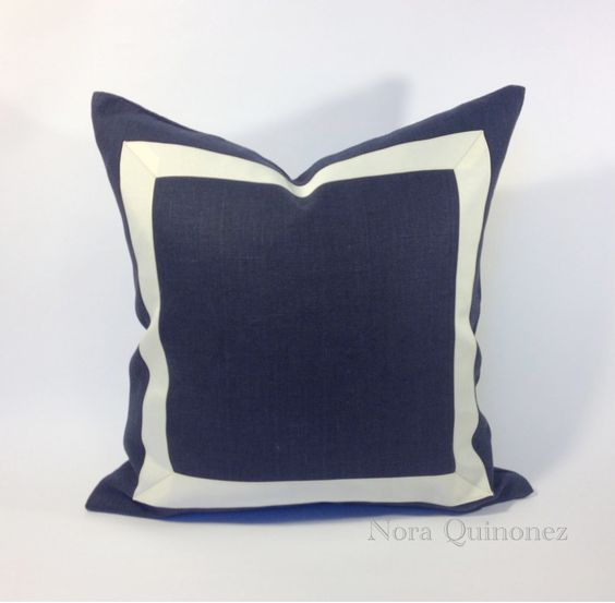 20x20 Navy Blue Linen Pillow Cover with Off White Grosgrain Ribbon- Decorative Throw Pillow Cover - Cushion Cover 51x51 cm. $70.00, via Etsy.
