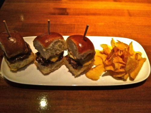 Mini Burgers with Homemade Potatoes.