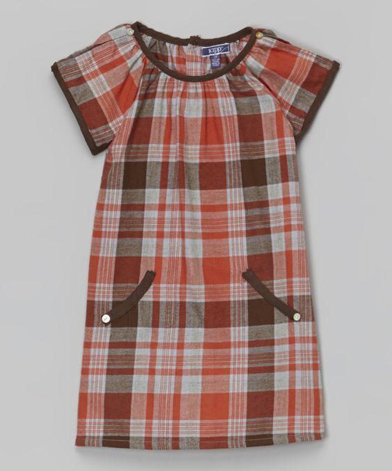 Orange Plaid Dress - Toddler & Girls
