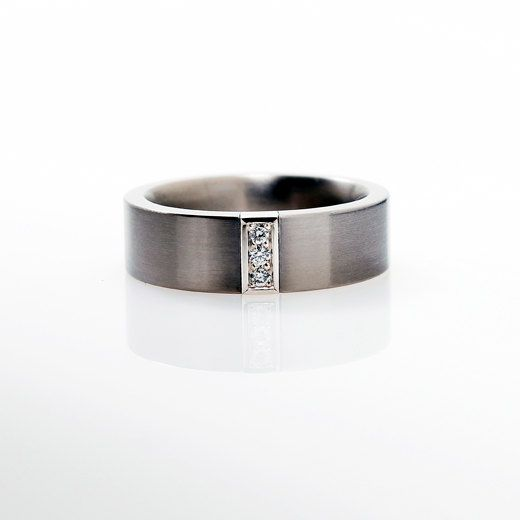 Palladium Wedding Band Mens Diamond Ring Men Palladium Band Wedding Band