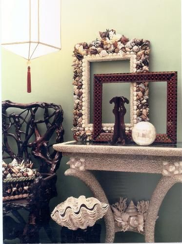 shell covered console table - more thomas boog