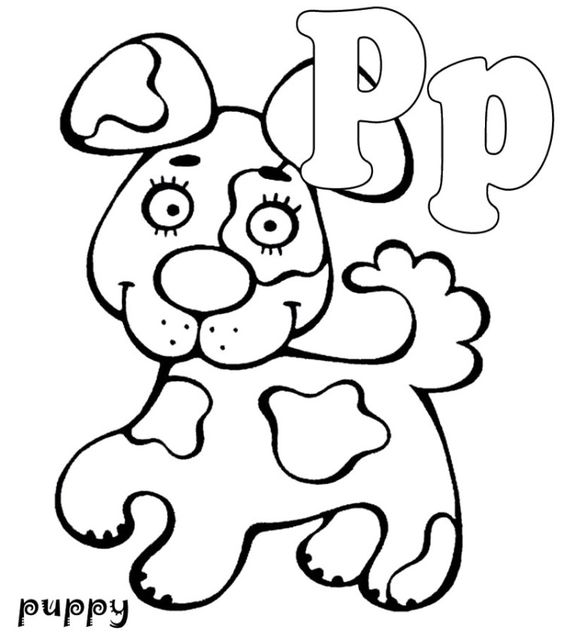 p is for puppy coloring pages - photo #3
