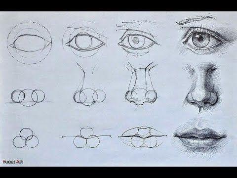 تعلم كيفية رسم العين والانف والفم How To Draw Eye Mouth Nose Drawings Art Drawings Art