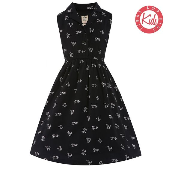 'Mini Matilda' Black Horse Print Dress