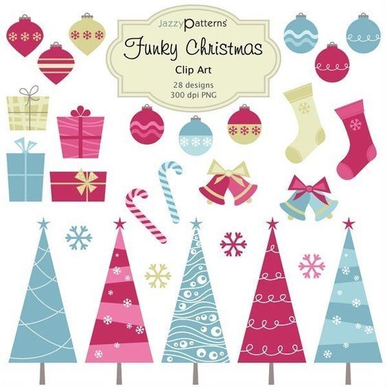 Funky Christmas Clip Art Collection  (CA004). $5.50, via Etsy.