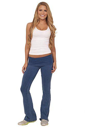 Women Cool Active Acid Wash Fold Over Low Waist Yoga Workout Cotton Long Pants