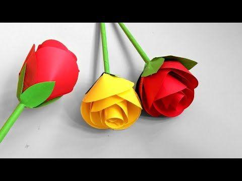 How To Make Paper Rose Flower Bunga Mawar Dari Kertas Origami Cara Membuat Bunga Dari Kertas Di 2020 Tutorial Bunga Kertas Bunga Kartu Ulang Tahun Buatan Tangan