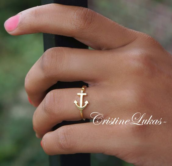 Seitliche Anker Ring in Gold oder Silber  von CristineLukas auf Etsy